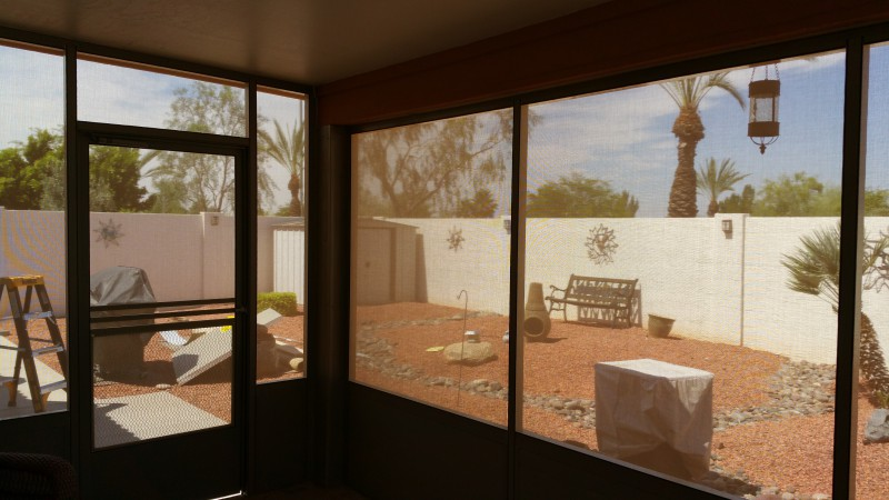 90% sunscreen fabric , using to create sunroom, block the sun but provide a clear view of the outdoors. Location: Peoria Arizona