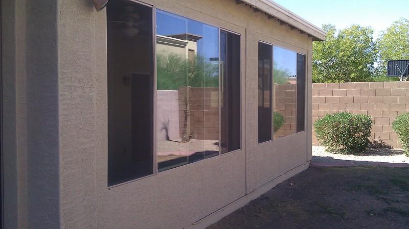Custom built patio enclosure under existing patio roof. Phoenix, Az