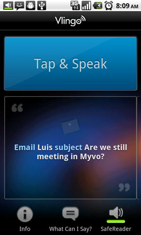 Vlingo-Tap-and-Speak technology