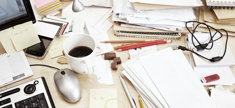 De-Clutter Your Office Space by cleaning up papers