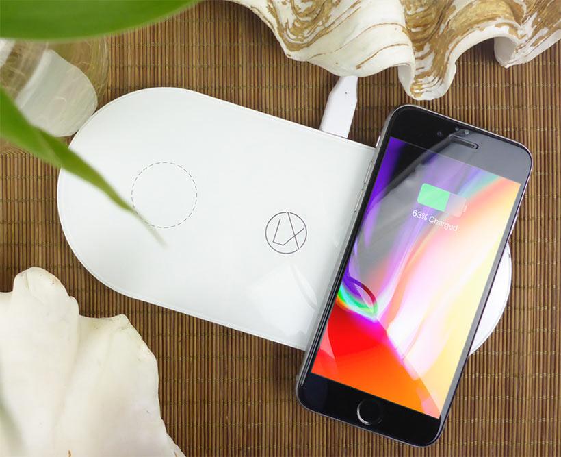lxory dual qi charging pad white