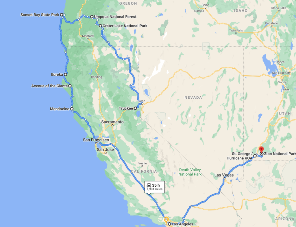 map of the road trip