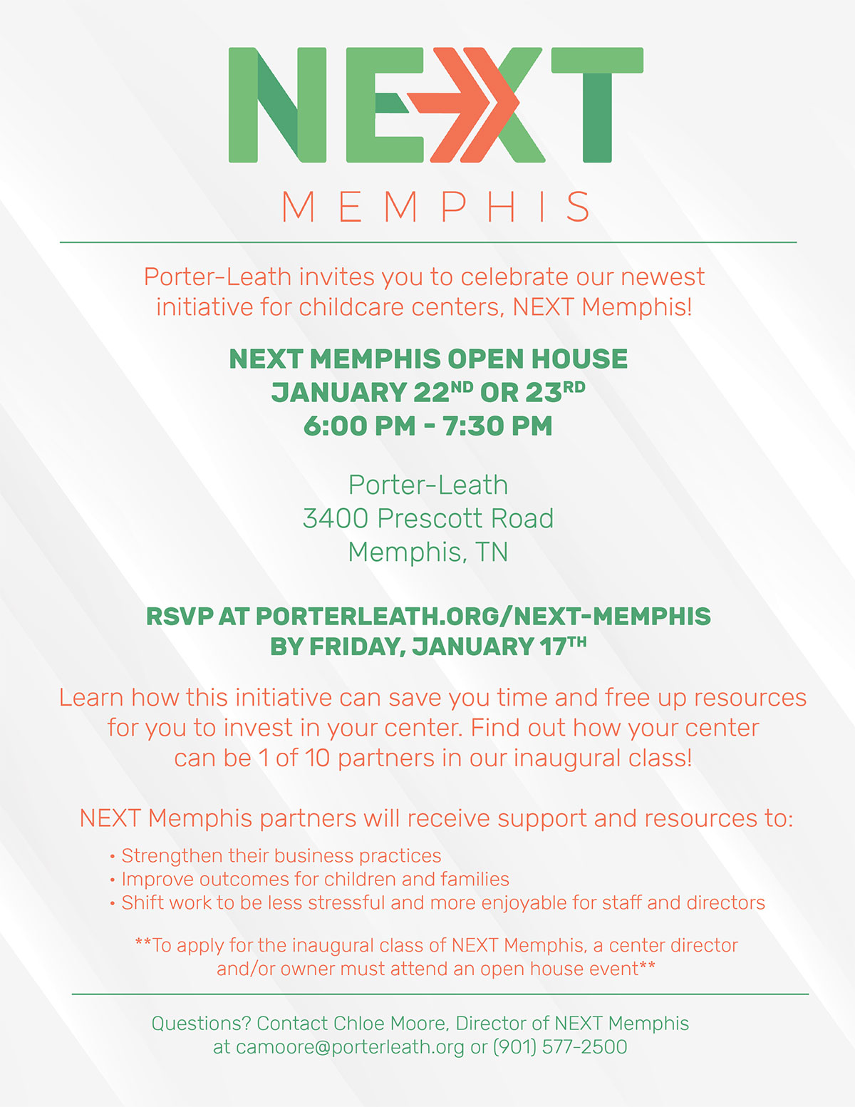 NEXT Memphis Open House Jan 22 and 23, 2020 Flyer