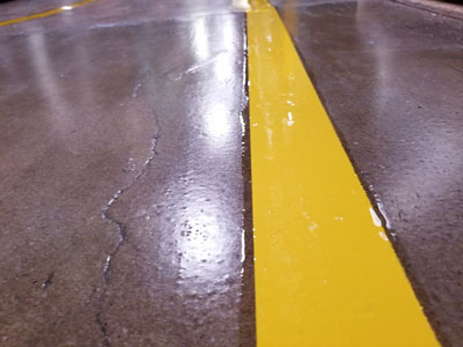 Floor line with epoxy clear coat