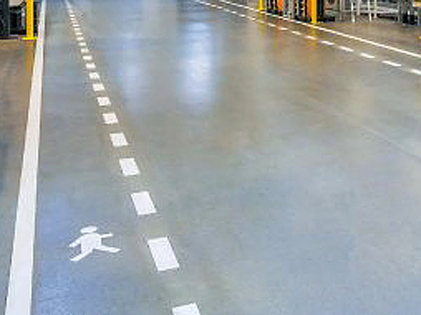 Warehouse floor aisle markings with pedestrian walkways