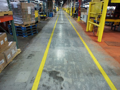 Warehouse Forklift floor traffic line