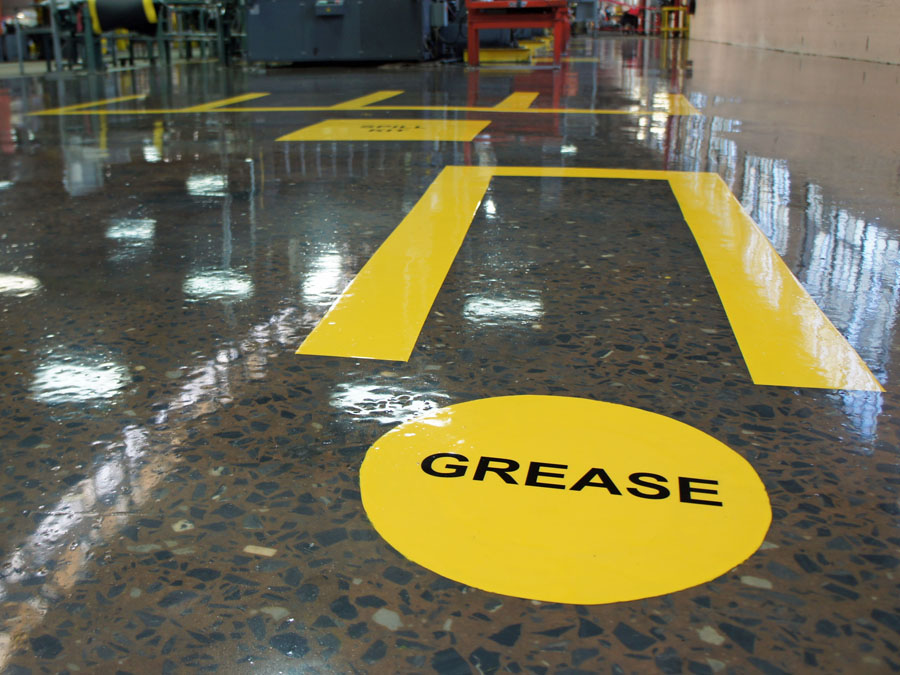 Floor markings designated for grease area