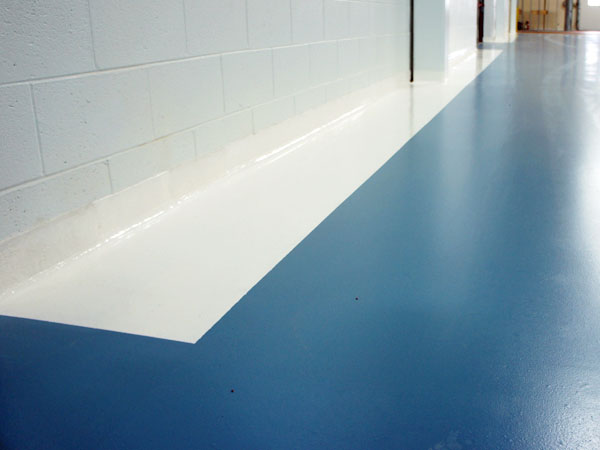 Blue and white sanitary warehouse floor lines