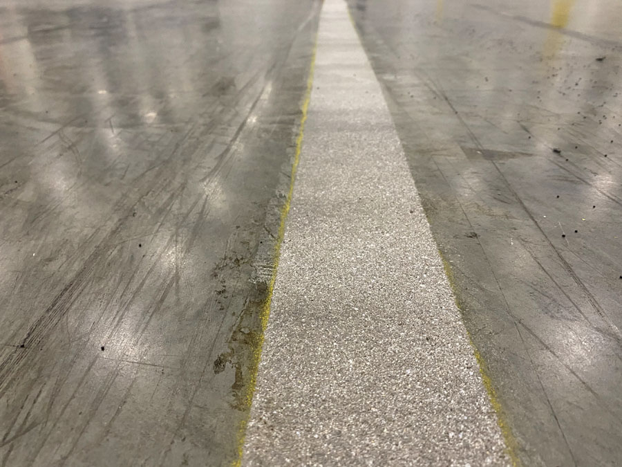 Floor surface prepared for line striping