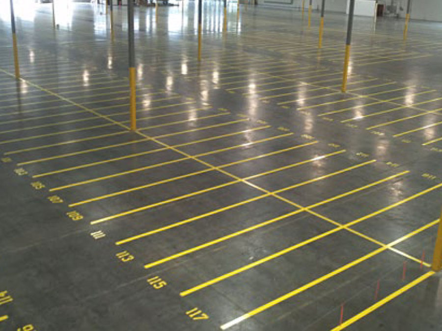 Warehouse Floor Lines with numbered rows
