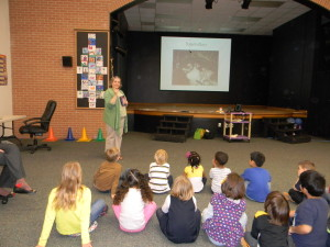 Talking with kindergarten and first grade. I think I was talking about how tiny Kimba and Hiro were when we found them.