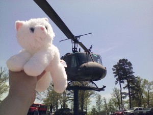 Kimba tried for a selfie with the helicopter. It was pretty impressive.