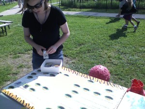 """Mindy"" enjoying an educational game. She loved the fur samples."