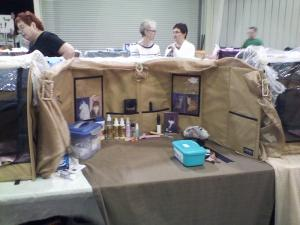 Most of the owners had manicure and prep stations like this. Those were some patient cats.