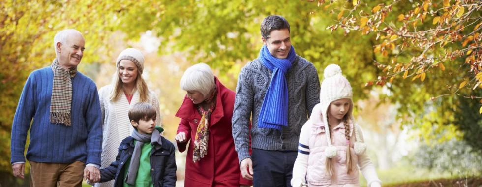 Multi-generational family walking