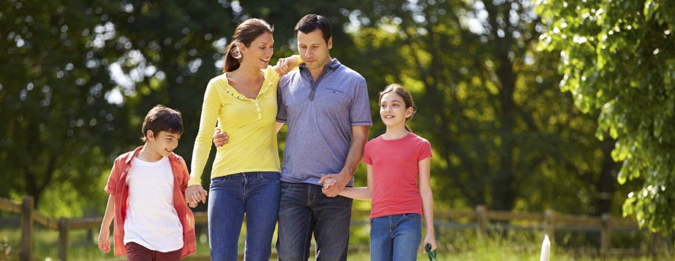Young family walking