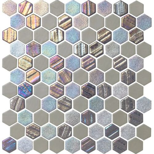 Starburst Mosaic Pool Tile Smoke Gray