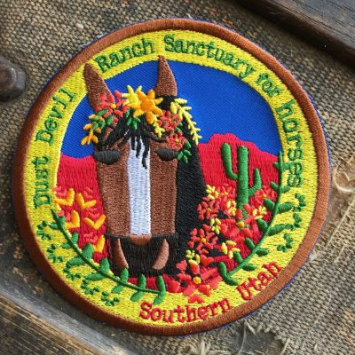 "4"" Embroidered Horse Patch - Dust Devil Ranch Sanctuary for Horses"