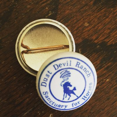 """1"""" Pin with Dust Devil Ranch Sanctuary for Horses logo"""