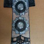 black & silver flower print belt w_flap
