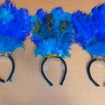 teal & royal blue feather headbands