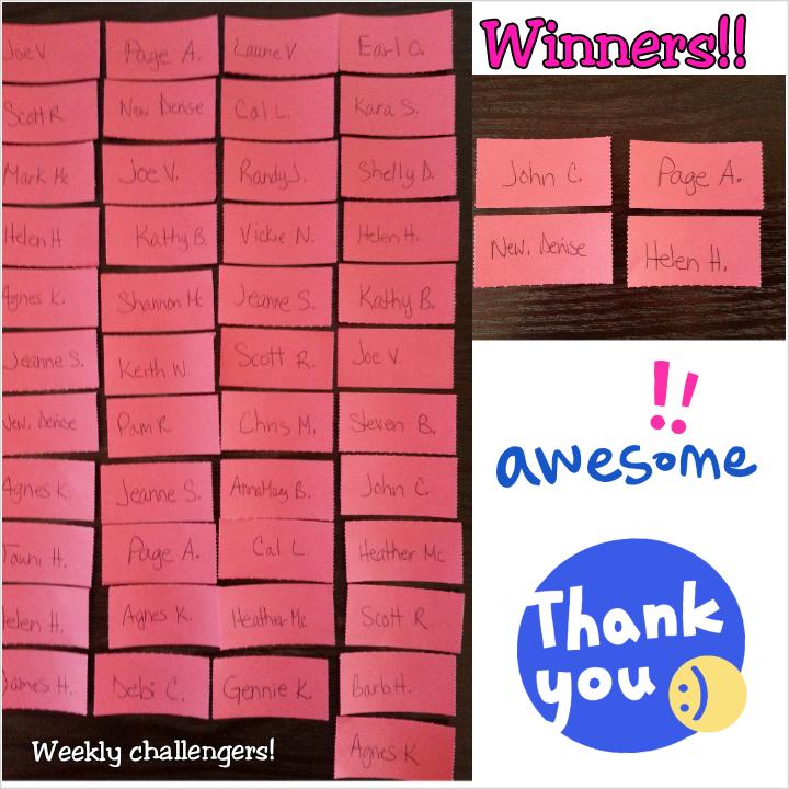 weekly winners