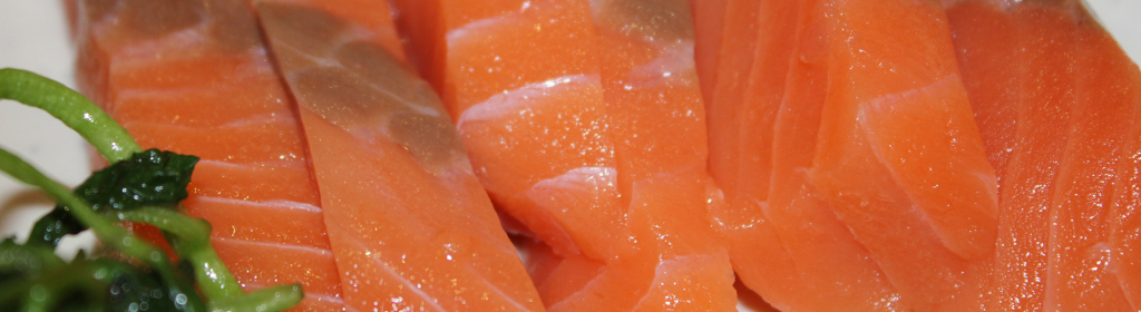Close up of fresh tuna fish, showing the clean meat.