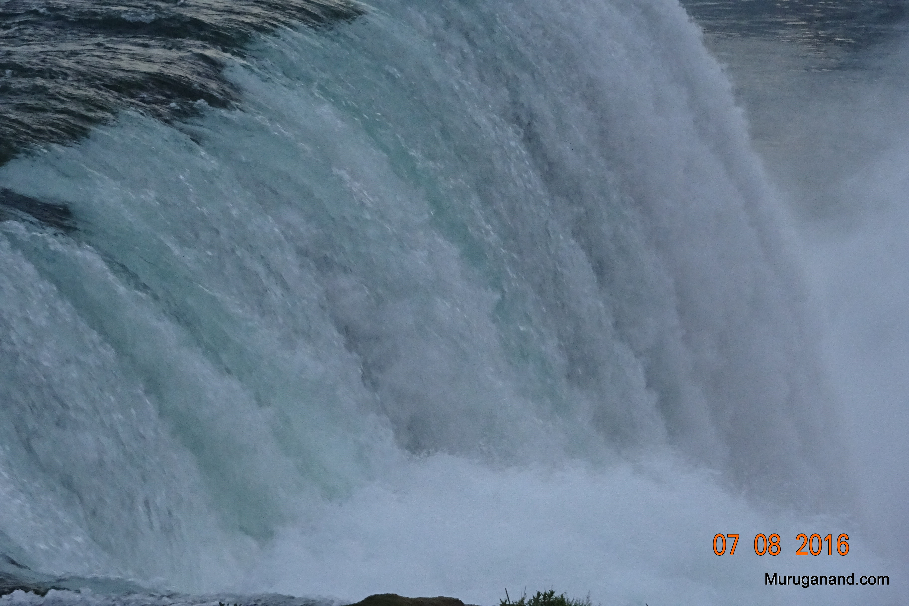 Niagara Falls fall to a height of 170 ft; water is also 170 ft deep down below.