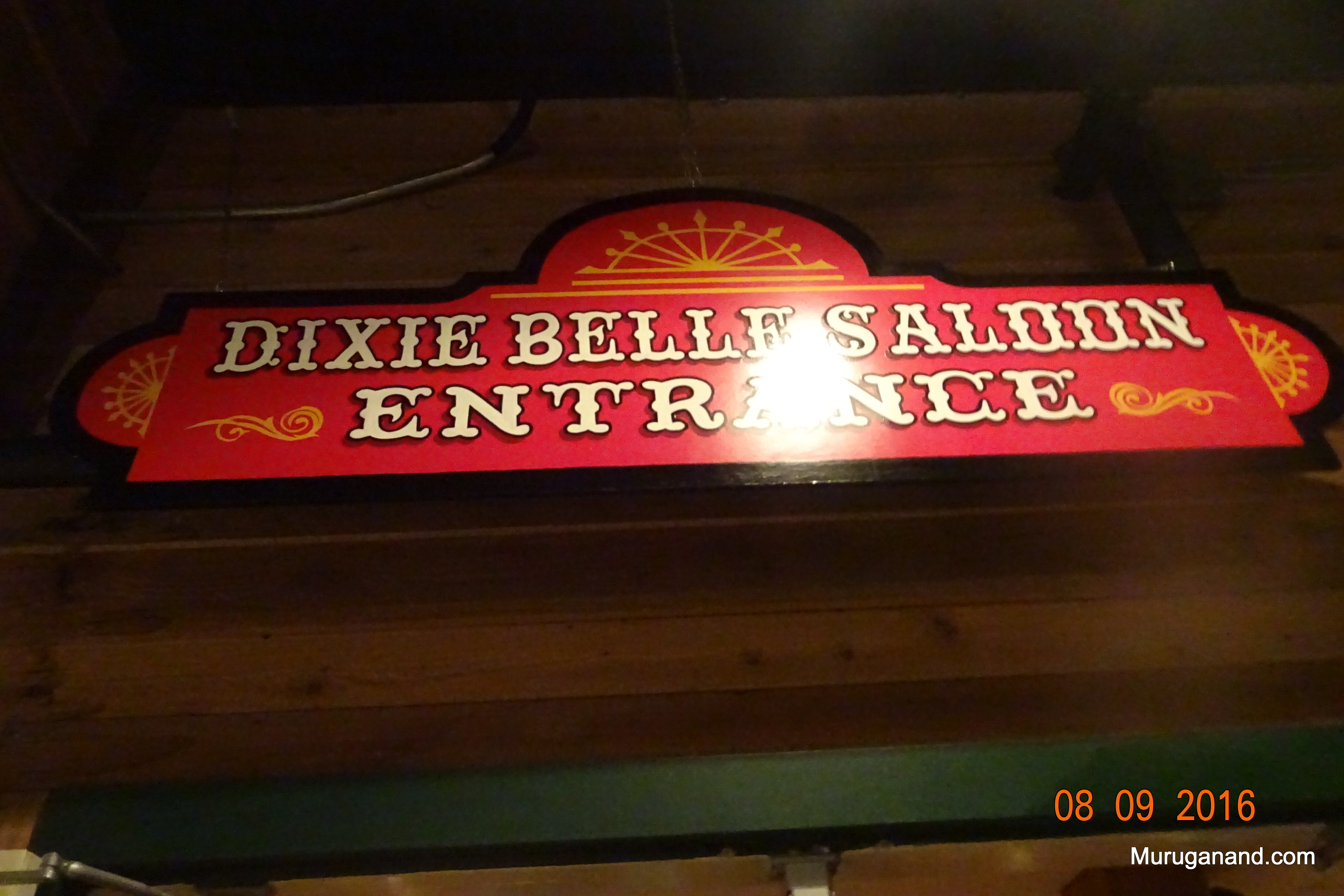 Sign board to the saloon and preshow enetertainment