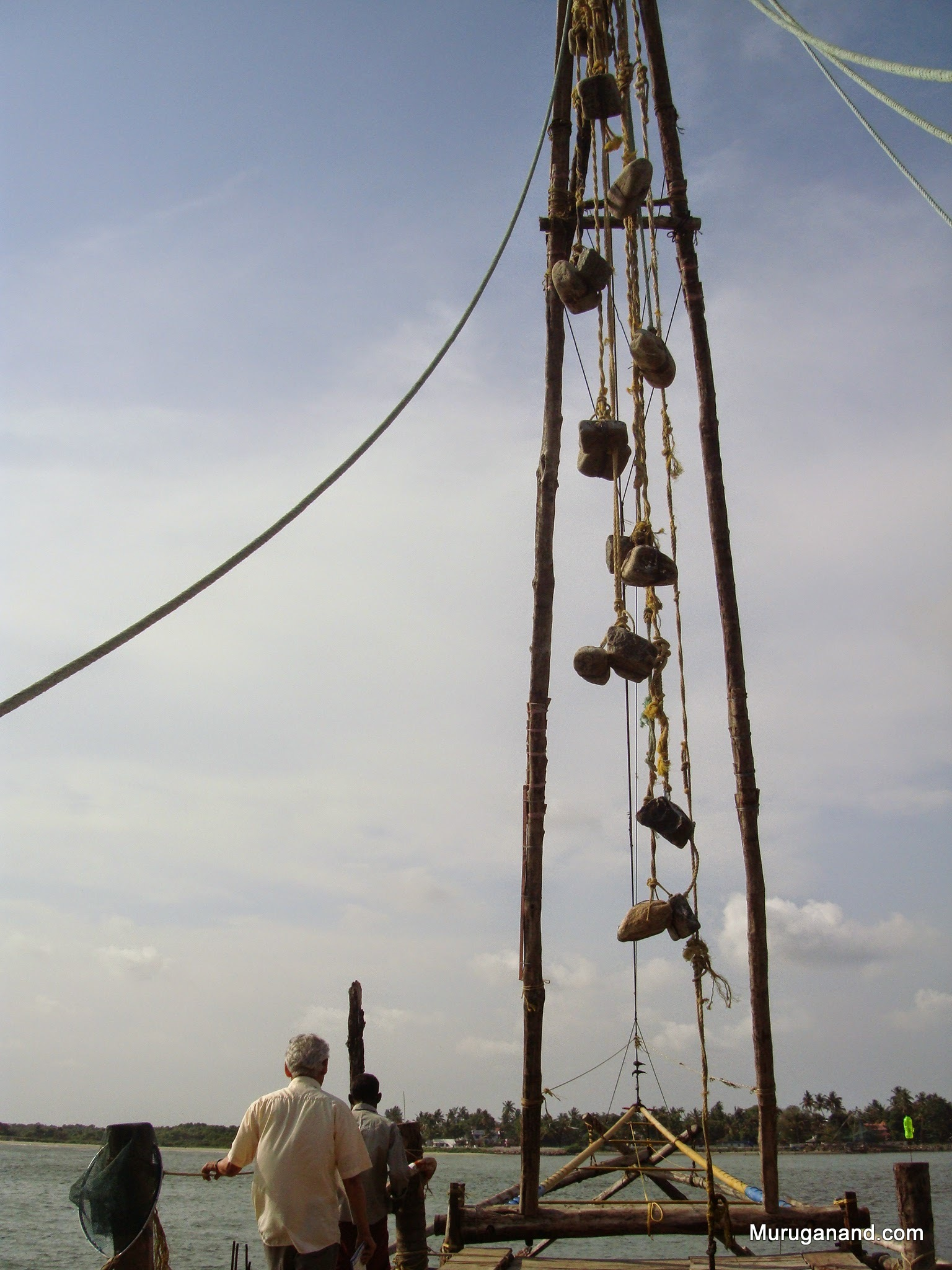 Balancing weights used to lift the net after catching fish