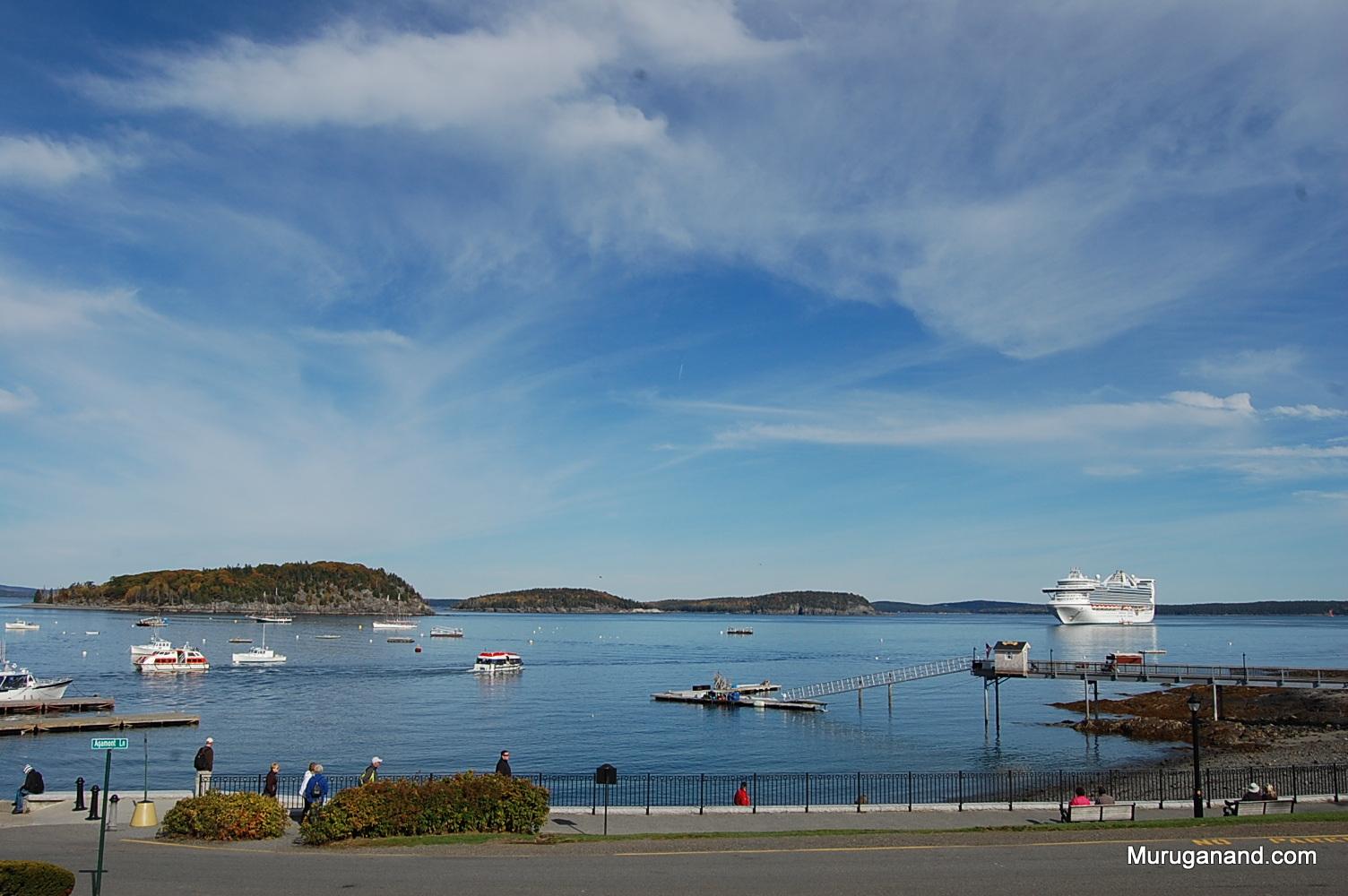Bar Harbor brings visitors by cruise ships to Acadia national Park.