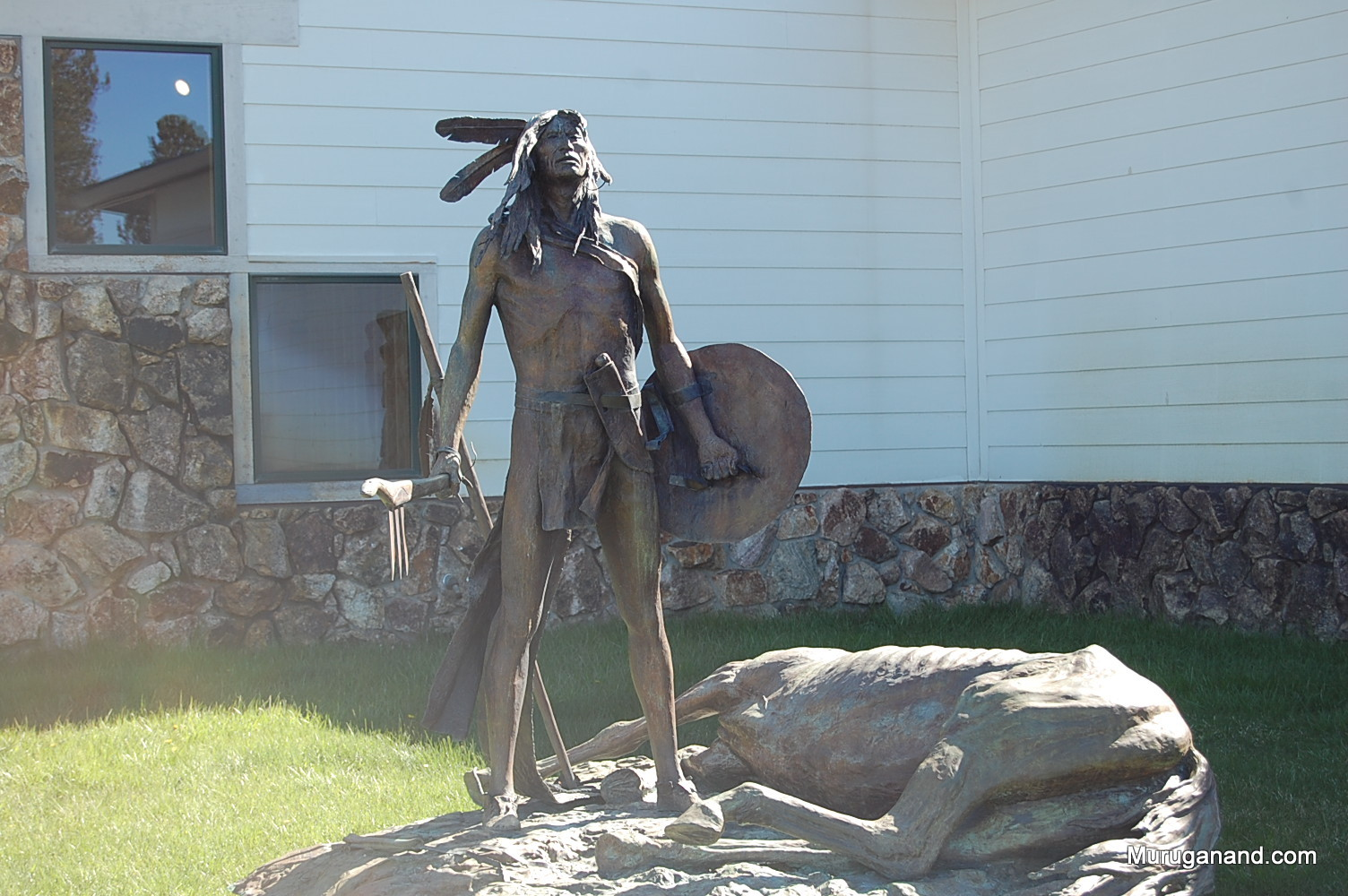 A sculpture outside the Welcome Center.