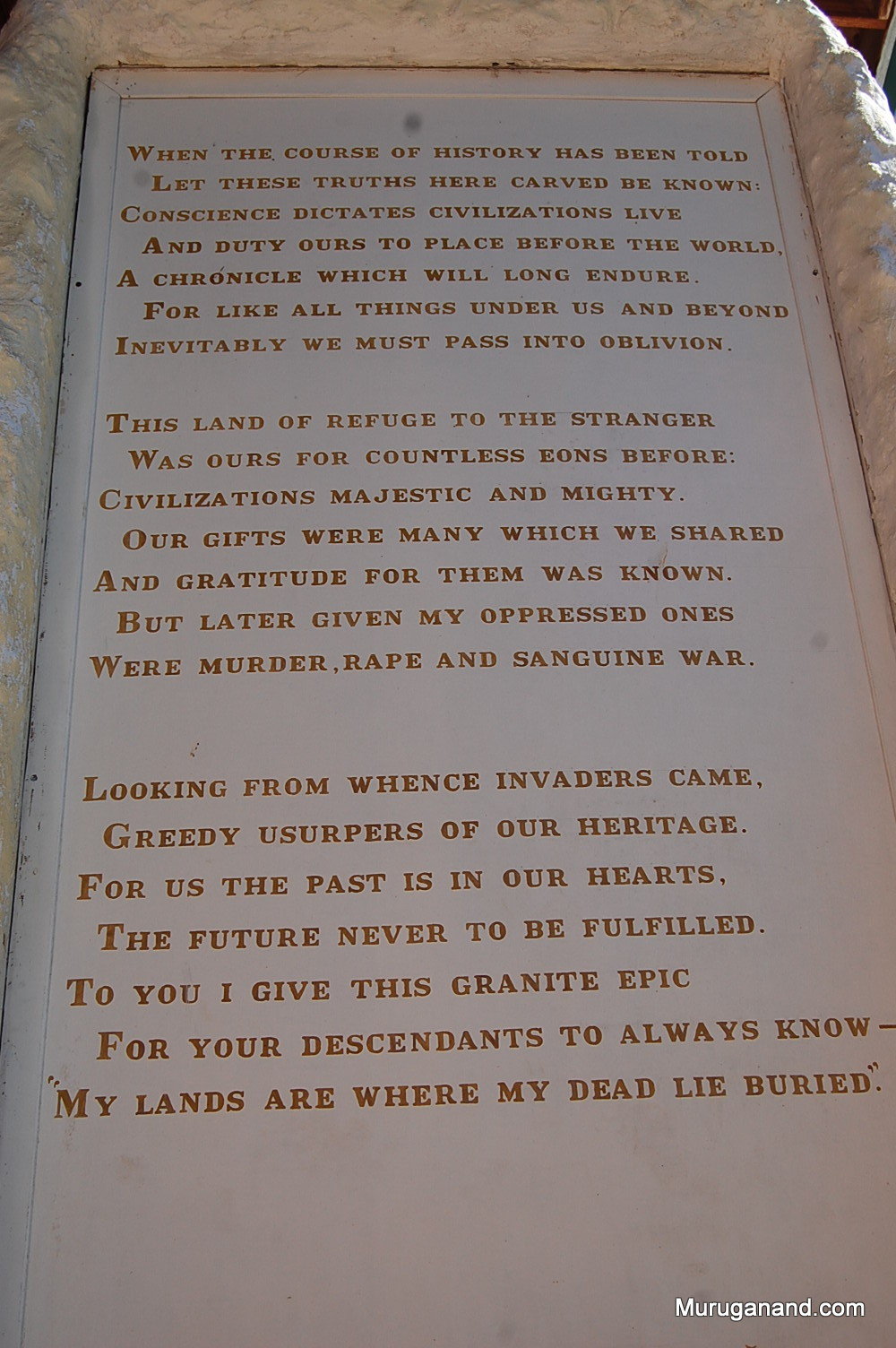 Poem written by Korczak Ziolkowski. Last line is a quote from Crazy Horse.