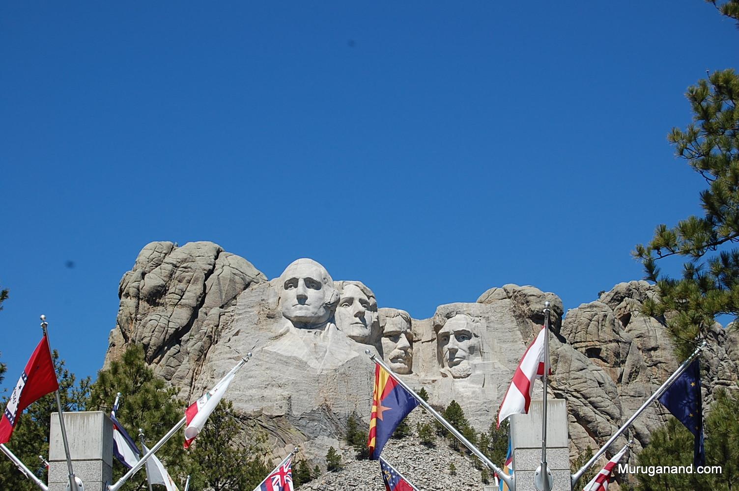 Washington, Jefferson, Roosevelt, Lincoln