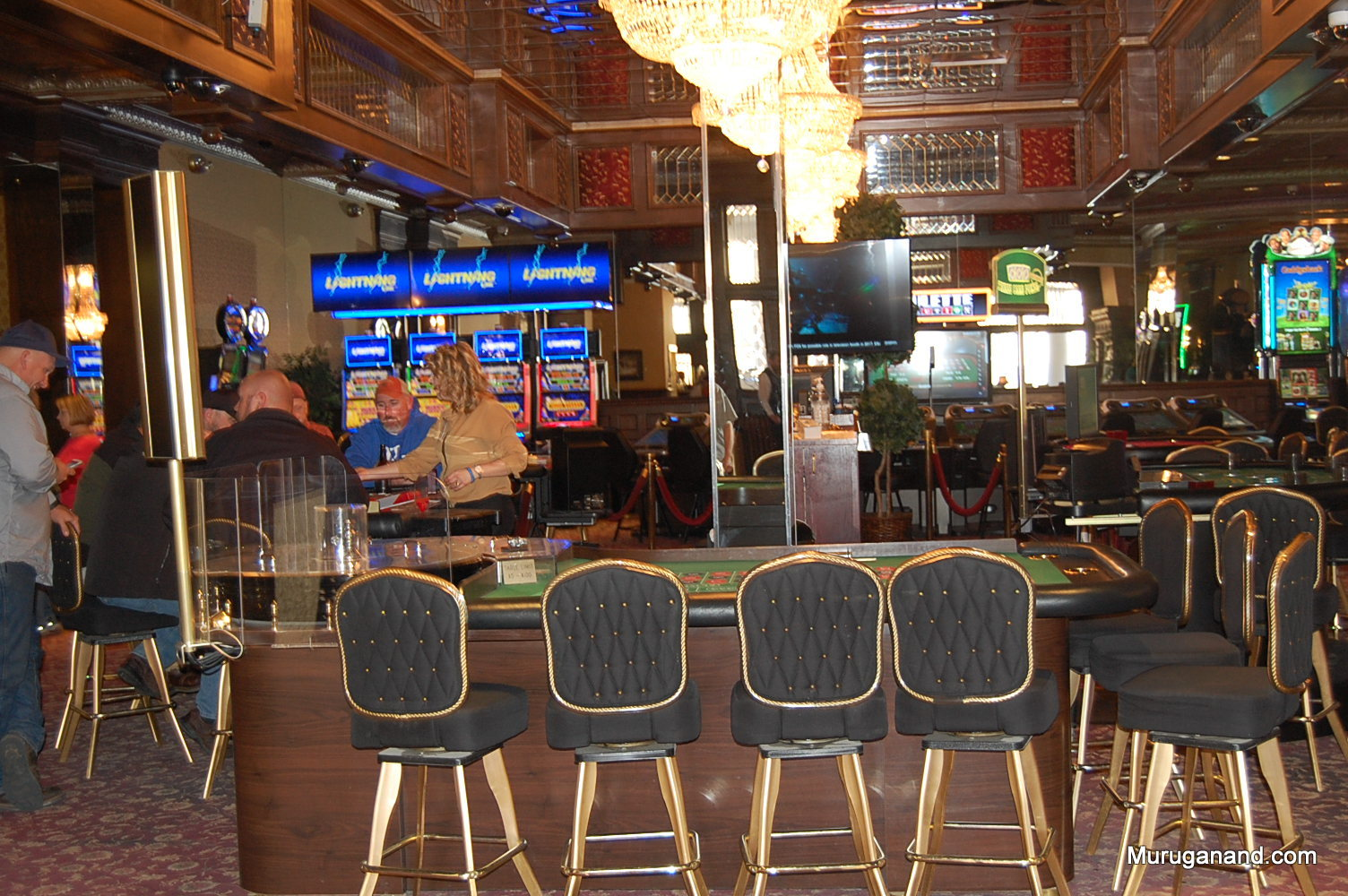 Modern Casinos with slot machines, poker, kino and other tables.
