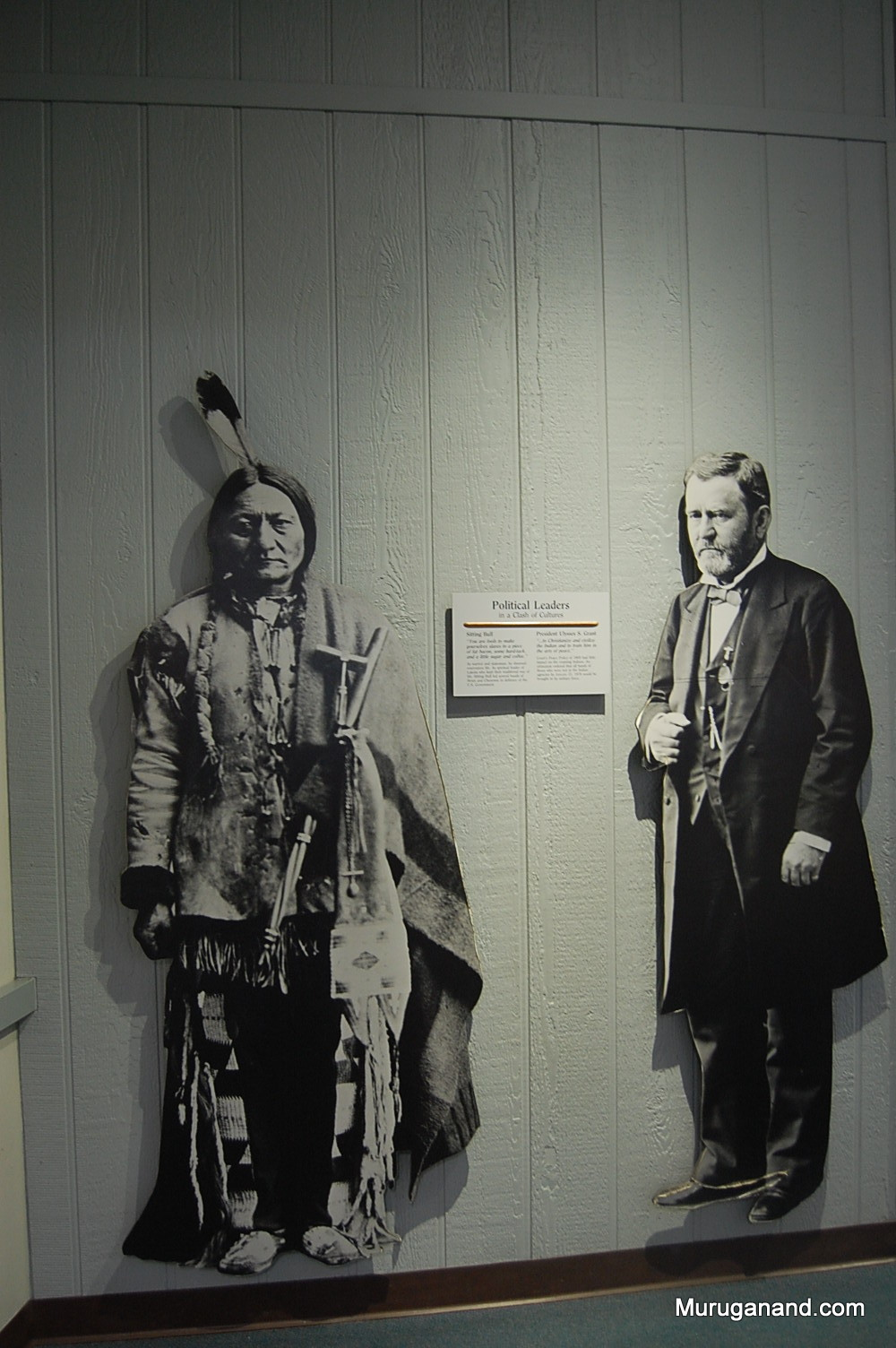 Sitting Bull and President Ulysses Grant. An exhibit at the Battlefield Museum.