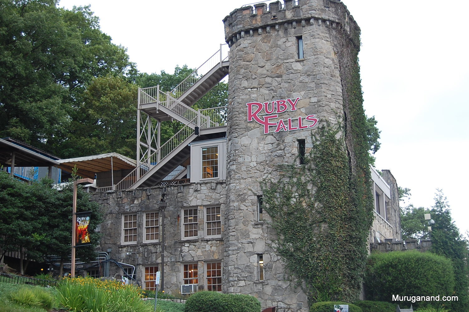 Visitor center and entrance to the Ruby Falls designed like Irish castle