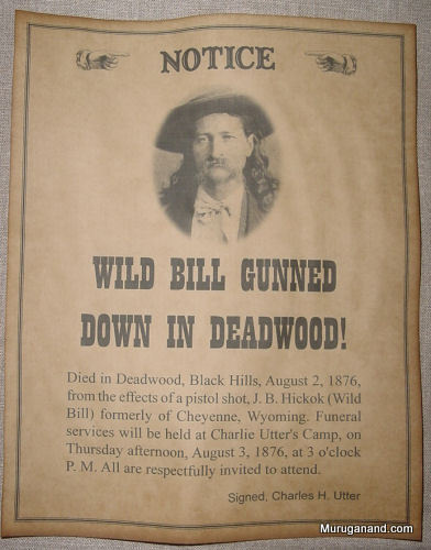 Announcement of Wild Bill's death.-picture from internet