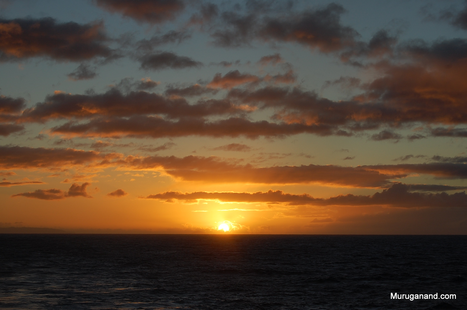 Sunset after departing from Kauai