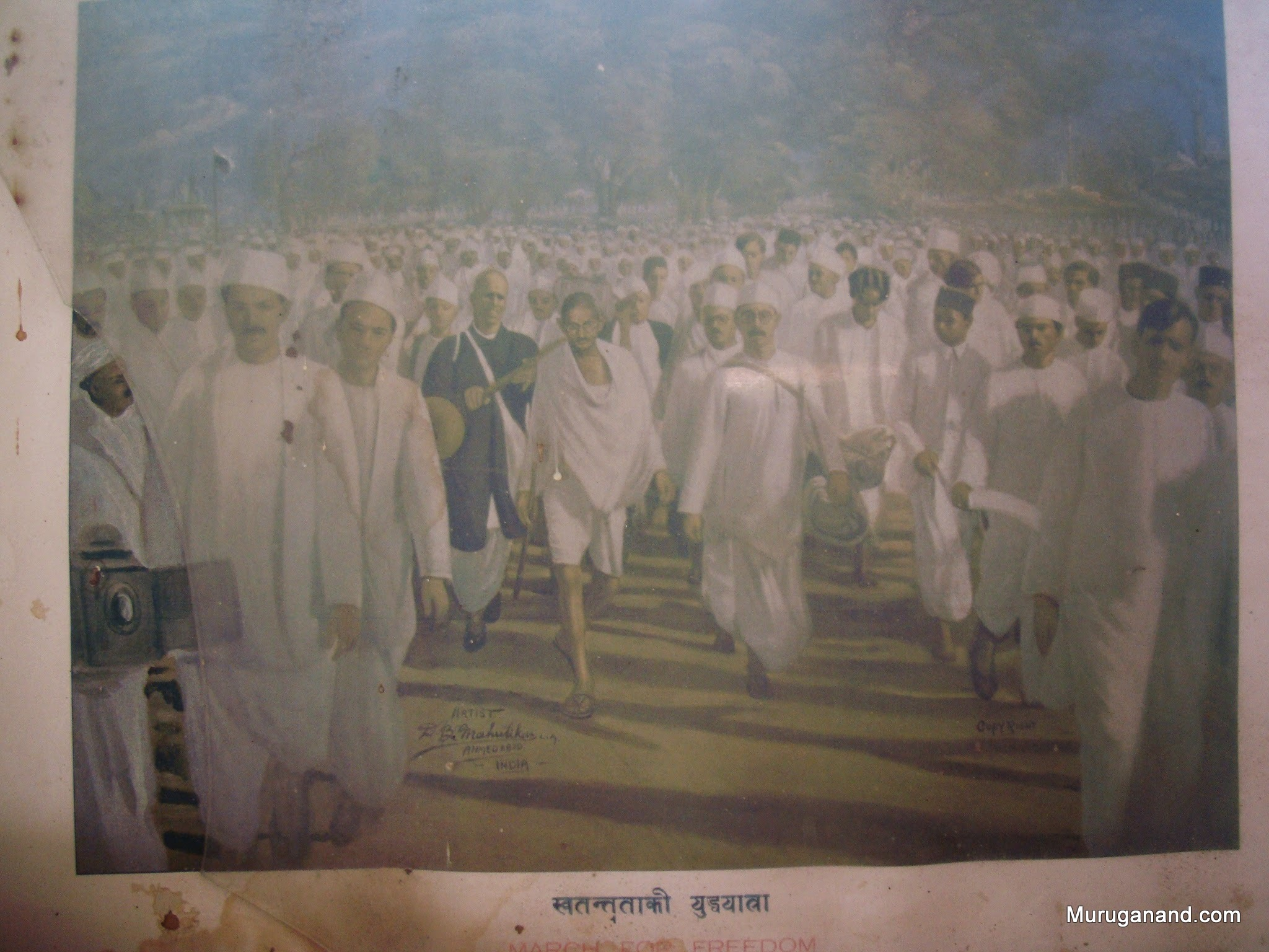 Another vintage art- Gandhi and his followers