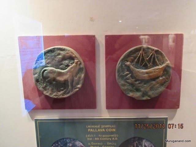 Pallava Coin-3rd-4th CenturyStanding Bull and a ship