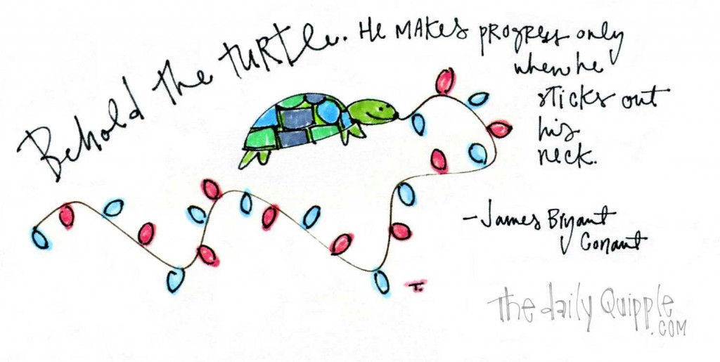 """""""Behold the turtle. He makes progress only when he sticks out his neck."""" James Bryant Conant"""