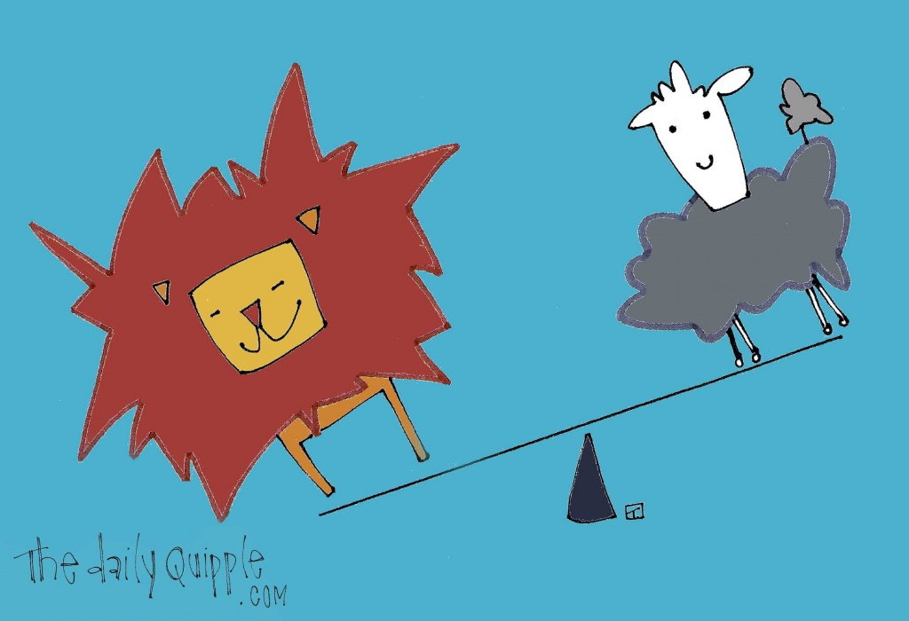 An illustration of a lamb and a lion on a teeter totter for the start of March and the Springtime to come!