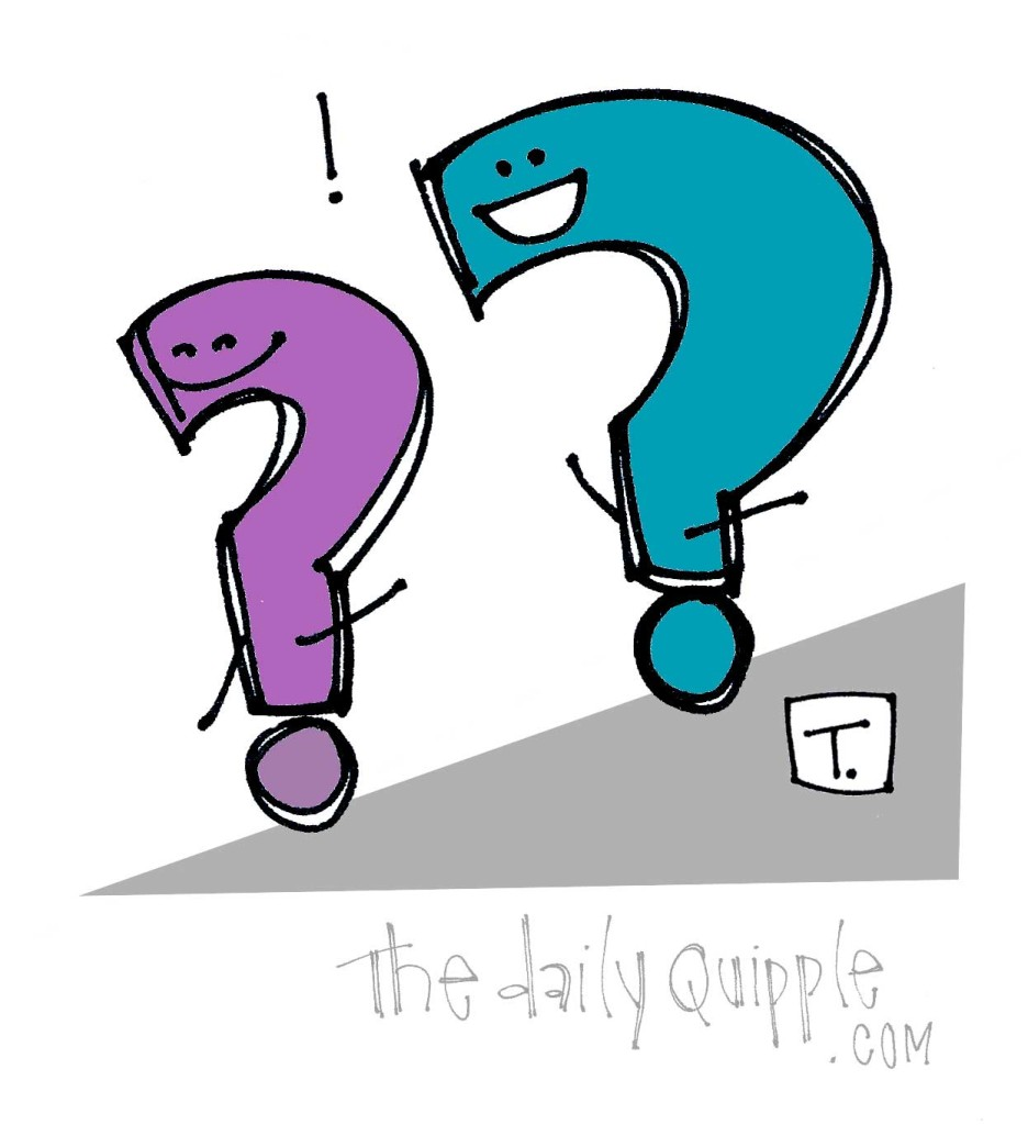 Two question marks enjoy rolling down a hill, a fun metaphor for how we should approach life.