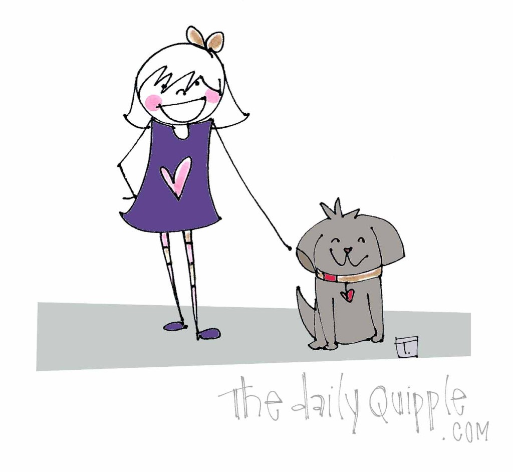 Little K happily stands with her new canine friend.