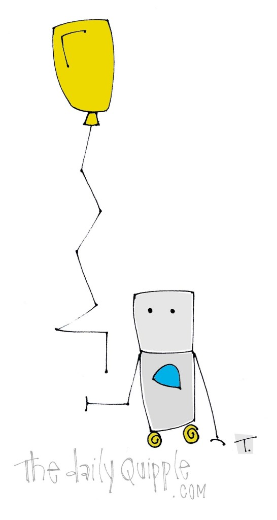 Quipple Bot lets go of a yellow balloon.