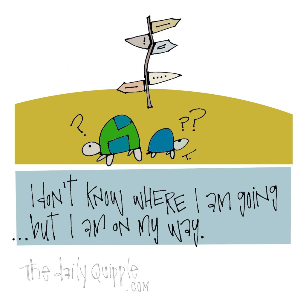 I don't know where I am going...but I am on my way.