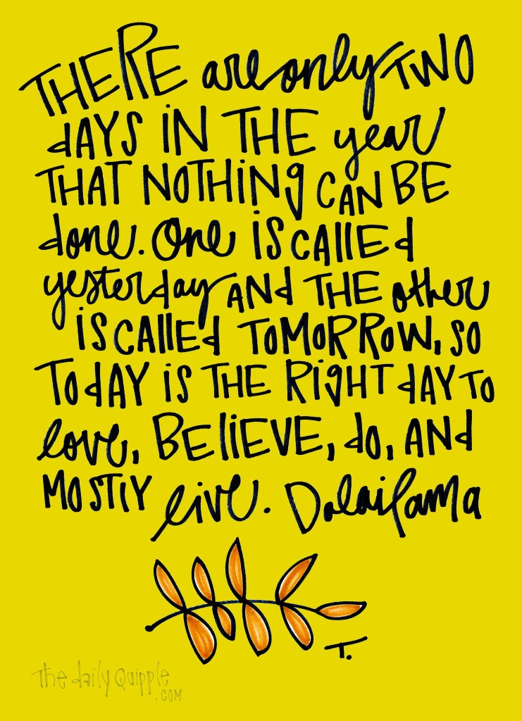 There are only two days in the year that nothing can be done. One is called yesterday and the other is called tomorrow, so today is the right day to love, believe, do, and mostly live. [Dalai Lama]