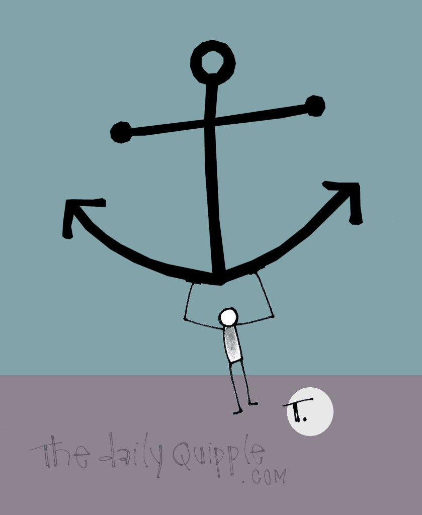 A quipple person holds up a giant anchor.
