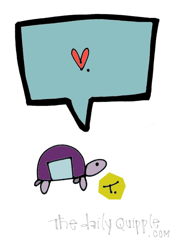 An illustrated turtle sends love your way.